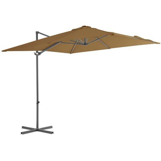 Youthup - Parasol en porte-à-faux avec mat en acier Taupe 250x250 cm