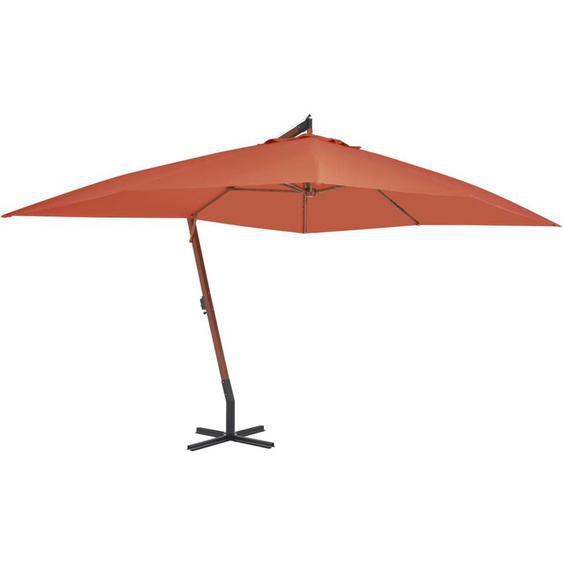 Youthup - Parasol en porte-à-faux avec mat en bois 400x300 cm Terre cuite