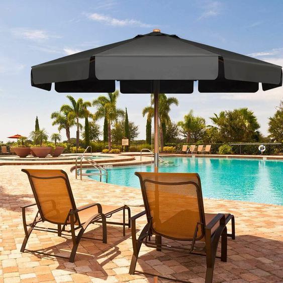 Parasol Inclinable 300CM avec Manivelle Anti-UV,Protection Solaire Toile Polyester Imperméable pour Jardin,Terrasse, Balcon - Costway