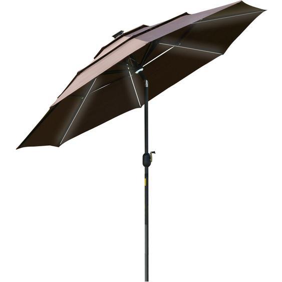 Parasol lumineux octogonal inclinable dim. 2,96L x 2,96l x 2,45H m parasol LED solaire métal polyester haute densité chocolat