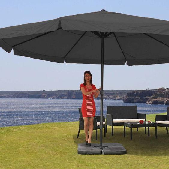 Parasol Meran Pro, Gastronomie, Parasol Pour Marché Avec Volantsø 5m Polyester/Alu 28 Kg Anthracite Avec Socle