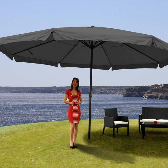 Parasol Meran Pro, Parasol Pour Marché Avec Volants Ø 5m Polyester/Alu 28 Kg   Anthracite Sans Socle