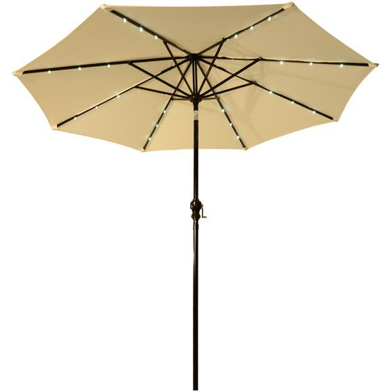 Parasol octogonal inclinable Ø 2,7 x 2,4 m lumineux solaire 24 LED polyester haute densité 180 g/m² crème