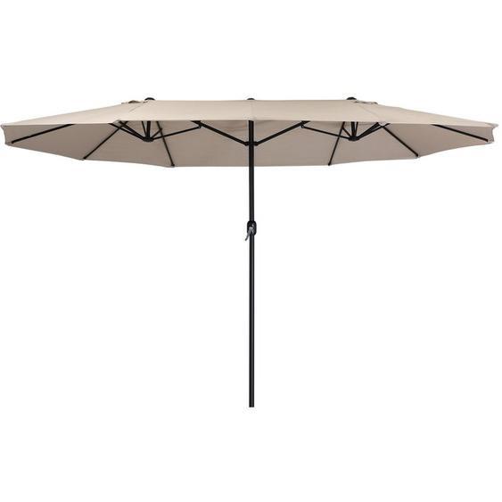 Parasol | parasol double avec manivelle | 460x270 cm (taupe) - Zelsius
