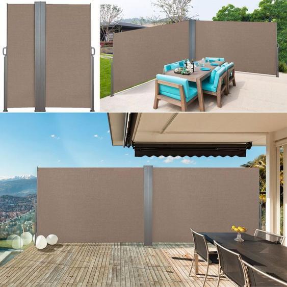 Paravent double rétractable 600 x 160 cm store taupe latéral - IDMARKET