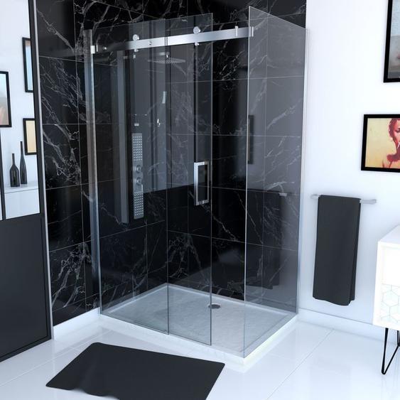 Paroi porte de douche type industriel avec retour 120x80x190 - verre trempé 8mm - RAILROAD SIDE 120/80 - AURLANE