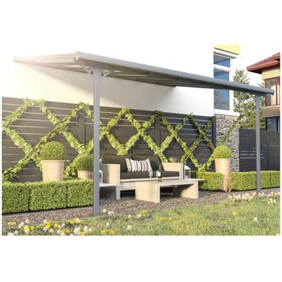 Pergola adossée en aluminum 13,2 m² anthracite ALVARO - L436 x P305 x H240/285 cm