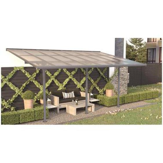 Pergola adossée en aluminum 15,1 m² anthracite ALVARO - L497 x P305 x H240/285 cm