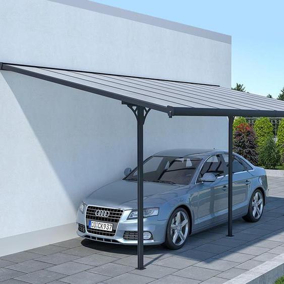 Pergola adossée en aluminum 18,8 m² anthracite ALVARO - L618 x P305 x H240/285 cm