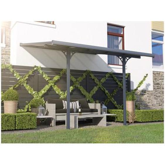 Pergola adossée en aluminum 9,5 m² anthracite ALVARO - L314 x P305 x H240/285 cm