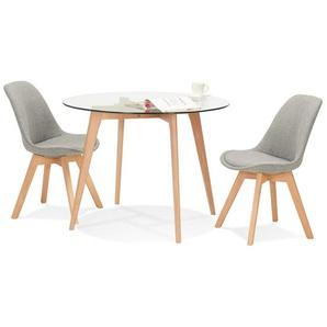 Petite table à diner ronde ANGELA en verre transparent - Ø 100 cm