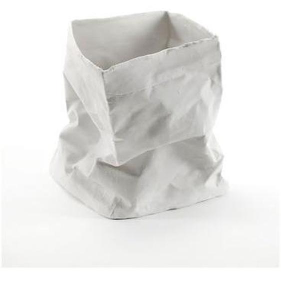 Photophore froissée Kiki porcelaine blanc H15 cm