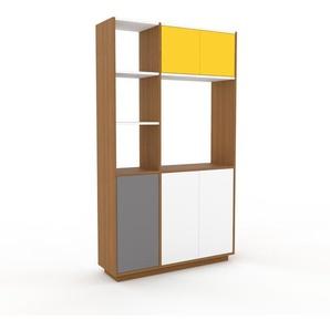 Placard - Chêne, contemporain, rangements, avec porte Blanc - 116 x 200 x 35 cm, modulable