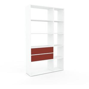 Placard - Blanc, contemporain, rangements, avec tiroir Rouge - 116 x 195 x 35 cm, modulable