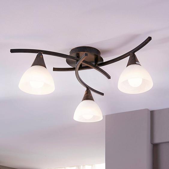 Plafonnier LED à trois lampes Della, noir et or