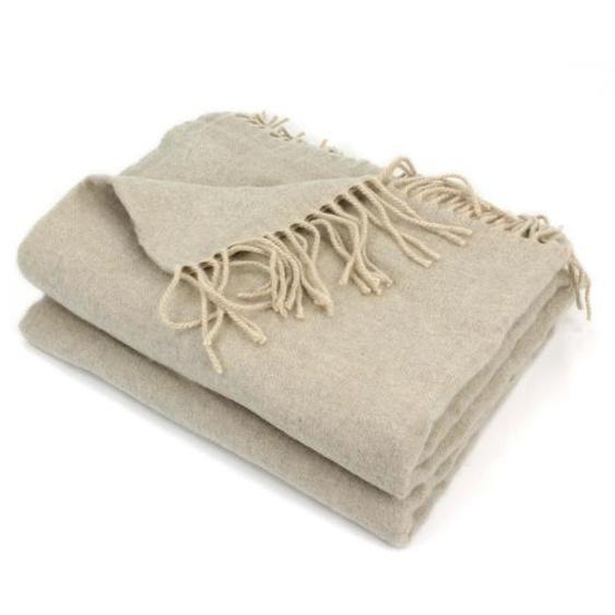 Plaid 130x170 cm 100% laine cachemire 240 g/m2 BANGALORE Marron Naturel
