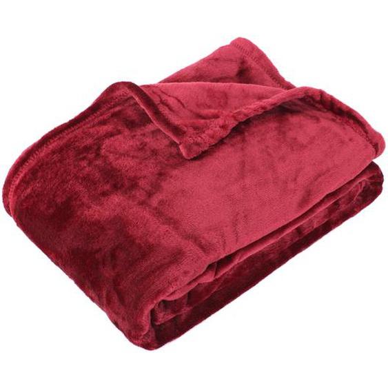 Plaid polaire microvelours 150x200 cm VELVET Bourgogne Rouge 100% Polyester 320 g/m2 Traitement non-feu 12952