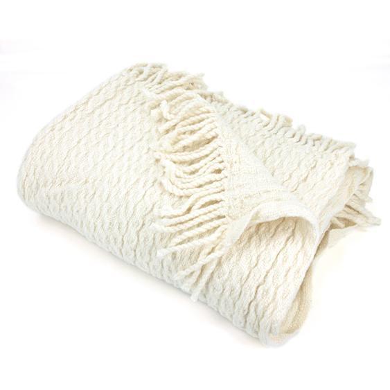 Plaid tissage torsadé 130x170 cm laine Lambswool 600 g/m² TORSADO Blanc Naturel