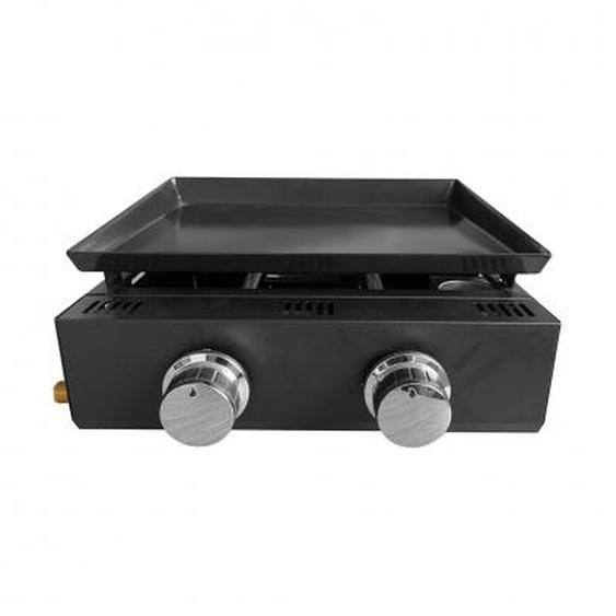 Plancha à gaz - 2 brûleurs - 5,6 kW - cuisson : 41,5 x 36 cm - inox