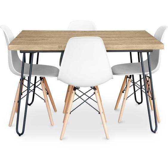 Table à manger Hairpin 120x90 + 4 chaise Deswick Blanc - PRIVATEFLOOR