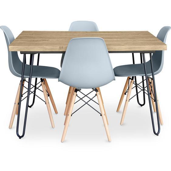 Table à manger Hairpin 120x90 + 4 chaise Deswick Gris clair - PRIVATEFLOOR