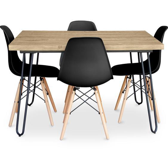 Table à manger Hairpin 120x90 + 4 chaise Deswick Noir - PRIVATEFLOOR