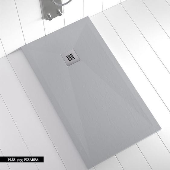 Receveur de douche Résine PLES Gris béton (grille colorée) - 110x80 cm - SHOWER ONLINE
