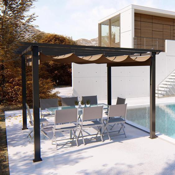 Concept-usine - Regia : tonnelle autoportante 3x3m, structure aluminium et toile polyester taupe