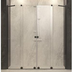 Royal Plaza Gentile Porte coulissante en 2 parties 200-240x200cm profilé noir et verre clair TimeLess 75313