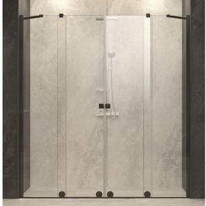 Royal Plaza Gentile Porte coulissante en 2 parties 240-280x200cm profilé noir et verre clair TimeLess 75354