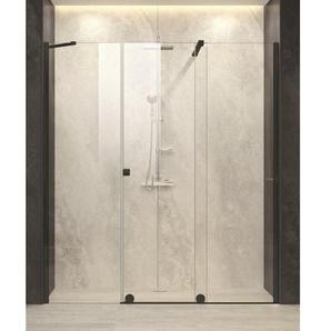 Royal Plaza Gentile Porte coulissante pour niche avec paroi fixe 180-200x200cm fixation droite profilé noir et verre clair TimeLess 33380