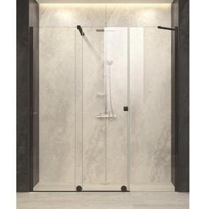 Royal Plaza Gentile Porte coulissante pour niche avec paroi fixe 200-220x200cm fixation gauche profilé noir et verre clair TimeLess 47167