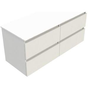 Royal Plaza Talisa Meuble sous lavabo 120x46cm 4 tiroirs laqué blanc 83512