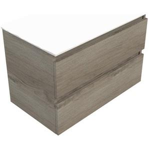 Royal Plaza Talisa meuble sous lavabo 60x46cm 2 tiroirs chêne argent 83515