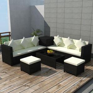 Mobilier de jardin 8 pcs avec coussins Résine tressée Noir