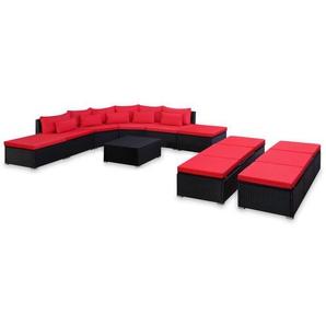 Mobilier de jardin 9 pcs avec coussins Résine tressée Rouge