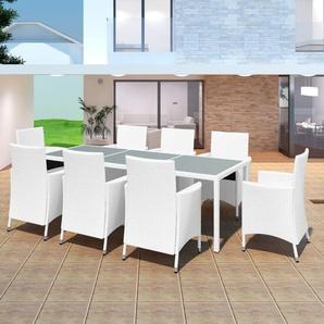Mobilier de jardin 9 pcs Résine tressée Blanc-crème