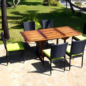 Salon en teck Lombok 6 places chaise en résine avec coussin