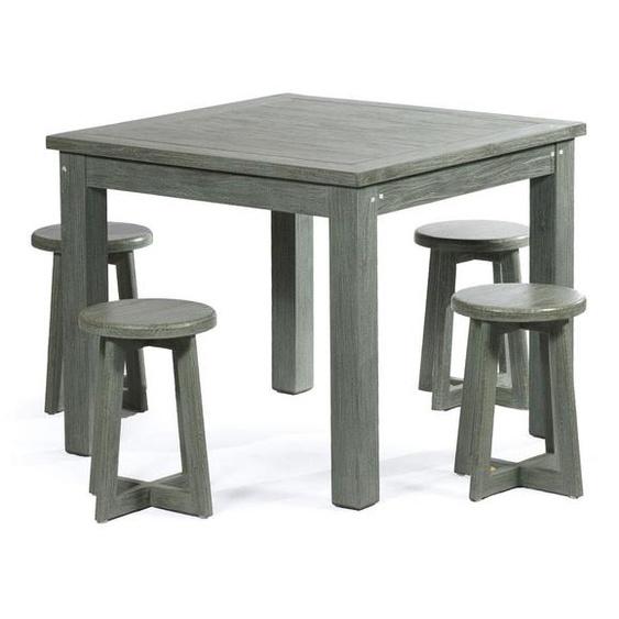 salon intérieur en teck massif 4 places table 90 cm