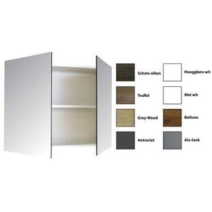 Sanicare Qlassics Armoire miroir 80x60x15cm avec 2 portes miroir deux côtés Blanc satin 29.41080Q