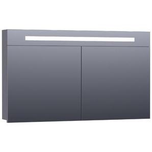 Saniclass 2.0 Armoire de toilette 120x70x15cm éclairage intégré rectangulaire 2 portes pivotantes MDF Gris brillant 7287