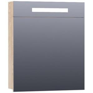 Saniclass 2.0 Armoire de toilette 59x70x15cm éclairage intégré rectangulaire 1 porte pivotante MFC Sahara 7326
