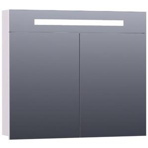 Saniclass 2.0 Armoire de toilette 80x70x15cm éclairage intégré rectangulaire 2 portes pivotantes MDF Blanc mat 7295