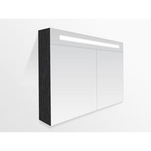 Saniclass 2.0 Armoire toilette 100x70x15cm avec 2 porte et éclairage LED Black Wood 7211