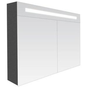 Saniclass 2.0 Armoire toilette 80x70x15cm avec 2 porte et éclairage LED Black Diamond 7227