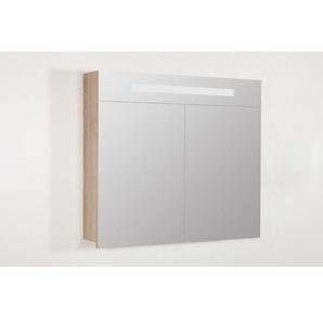 Saniclass 2.0 Armoire toilette 80x70x15cm avec 2 porte et éclairage LED Legno Calore 7257