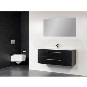 Saniclass Bologna Meuble salle de bain avec miroir 100cm avec deux tiroirs 1 trou pour robinetterie Black Diamond