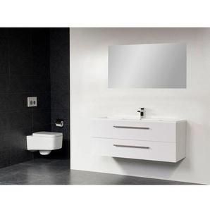 Saniclass Bologna Meuble salle de bain avec miroir 100cm avec deux tiroirs 1 trou pour robinetterie Blanc SW18117