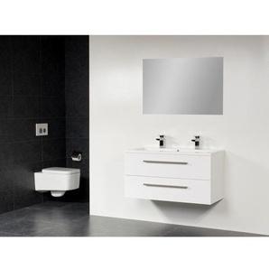 Saniclass Bologna Meuble salle de bain avec miroir 100cm avec deux tiroirs 2 trous pour robinetterie Blanc sw6424
