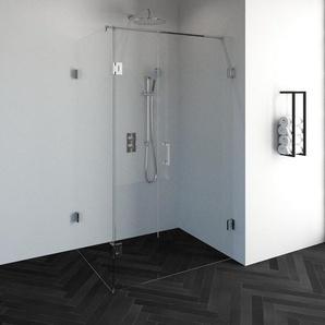 Saniclass Create Cabine de douche rectangulaire en 3 parties 120x90cm sans profilé avec verre de sécurité anticalcaire 8mm Chrome brillant 4JC11-90x120ch
